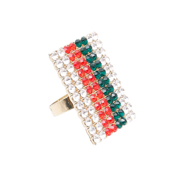 Gucci Stripe Gold Rectangle Ring