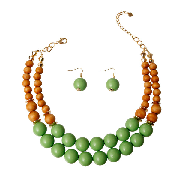 Wooden Bead Necklace Set