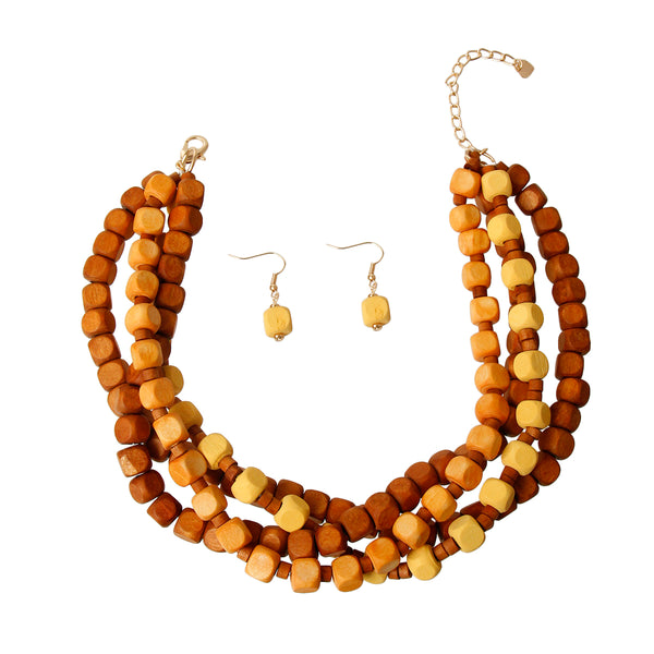 Square Wooden Bead Choker Set