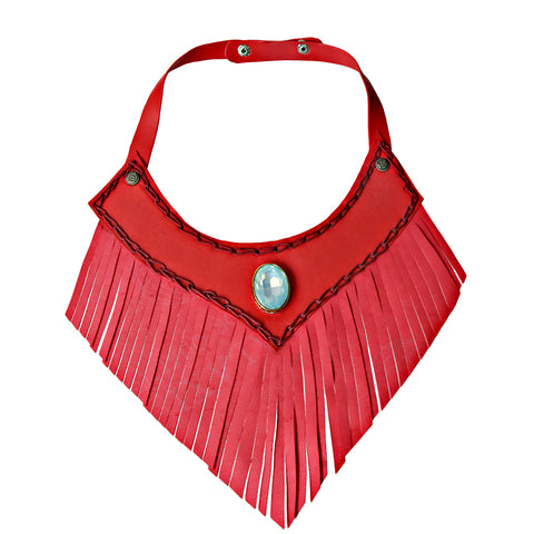 Red Leather Fringe Choker Necklace