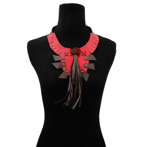Red Leather Rose and Tassel Bib Choker Necklace