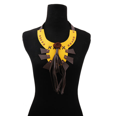 Yellow Leather Rose and Tassel Bib Choker Necklace