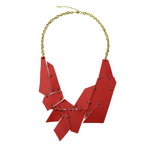 Red Leather and Gold Chain Necklace