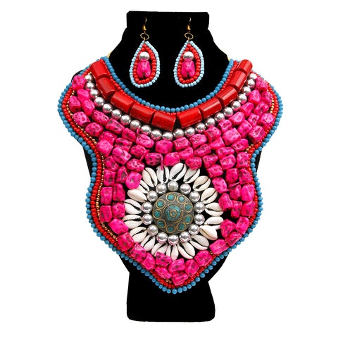 Pink Stones and Multi Color Bead Bib Necklace Set
