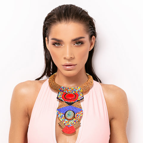Multi Color Bead Raised Collar Long Bib Necklace Set