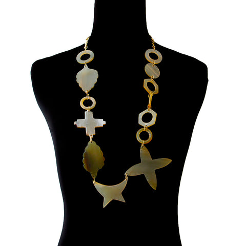 Multi Shape Buffalo Horn and Gold Chain Necklace