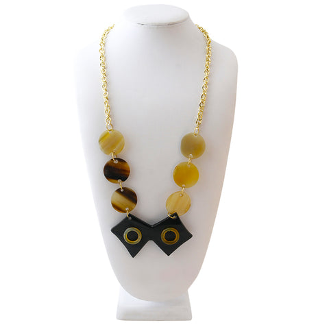 Circular Buffalo Horn and Gold Chain Necklace