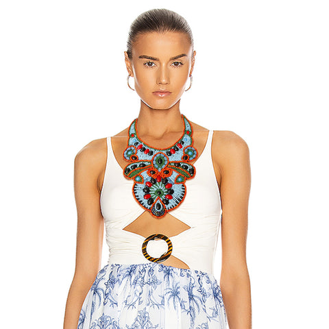 Blue and Orange Bead Bib Necklace Set