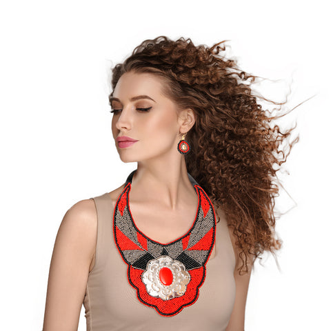 Red and Silver Beaded Bib Necklace Set Featuring Stamped Metal Plate Design