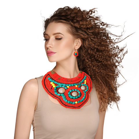 Colored Bib Necklace Set
