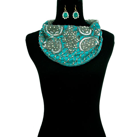 Handmade Teal Satin Scarf Necklace Set with Embroidered Sequins Beads and Pearls
