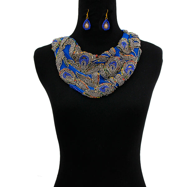 Embroidered Chiffon Scarf Necklace
