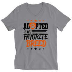 Adopted Is My Favourite Breed Ladies V-Neck / Athletic Heather / S