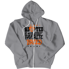 Adopted Is My Favourite Breed Zipper Hoodie / Athletic Heather / S