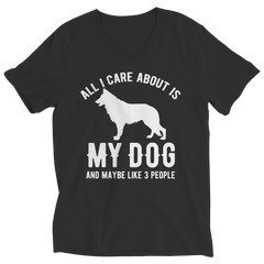 All I Care About Is My Dog And Maybe Like 3 People Ladies V-Neck / Black / XL