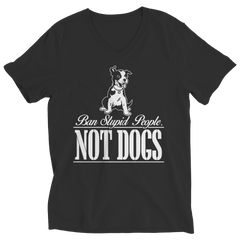Ban Stupid People Not Dogs Ladies V-Neck / Black / S