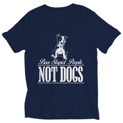 Ban Stupid People Not Dogs Ladies V-Neck / Navy / S