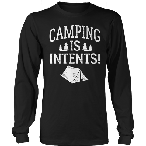 Camping Is Intents Long Sleeve / Black / S