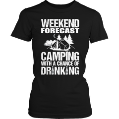 Camping With A Chance Of Drinking Ladies Classic Shirt / Black / S