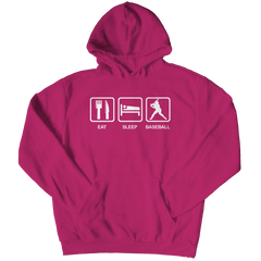 Eat Sleep Baseball Hoodie / Pink / 3XL
