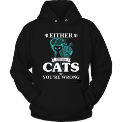 Either You Like Cats Or You're Wrong Hoodie / Black / S