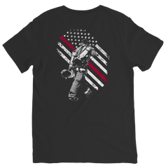 Firefighter Exclusive Thin Red Line Ladies V-Neck / Black / S