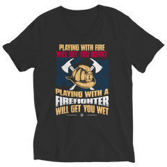 Get Wet Playing With A Firefighter Ladies V-Neck / Black / S