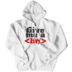 Give Me a Break Zipper Hoodie / White / S