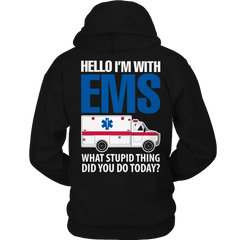 Hello I'm With EMS Hoodie / Black / S
