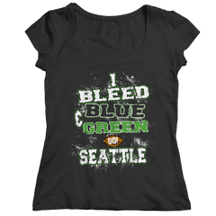 I Bleed Blue and Green Go Seattle Ladies Classic Shirt / Black / 2XL