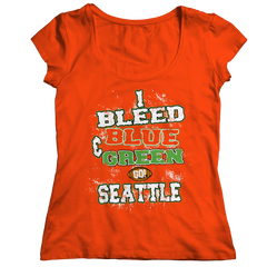 I Bleed Blue and Green Go Seattle Ladies Classic Shirt / Orange / 2XL