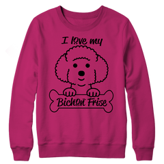 I Love My Bichon Frise Crewneck Fleece / Pink / S