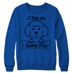 I Love My Bichon Frise Crewneck Fleece / Royal / S