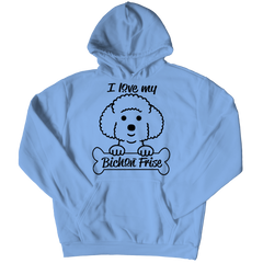 I Love My Bichon Frise Hoodie / Light Blue / S