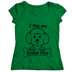 I Love My Bichon Frise Ladies Classic Shirt / Kelly / S