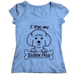 I Love My Bichon Frise Ladies Classic Shirt / Light Blue / S