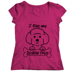 I Love My Bichon Frise Ladies Classic Shirt / Pink / S