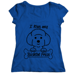 I Love My Bichon Frise Ladies Classic Shirt / Royal / S