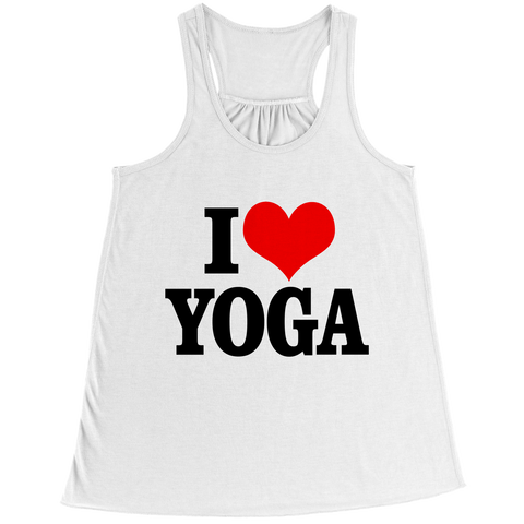 I Love Yoga Bella Flowy Racerback Tank / White / 2XL