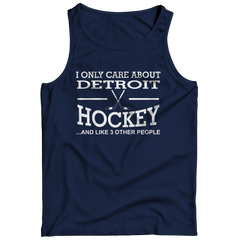I Only Care About Detroit Hockey Tank Top / Navy / 3XL