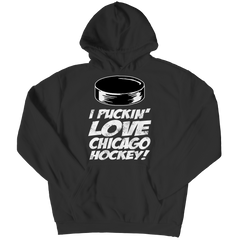 I Puckin Love Chicago Hockey Hoodie / Black / 3XL