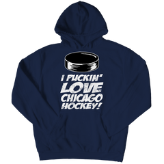 I Puckin Love Chicago Hockey Hoodie / Navy / 3XL