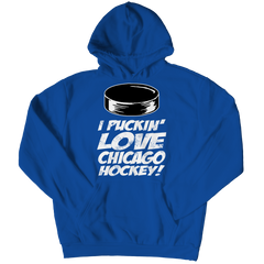 I Puckin Love Chicago Hockey Hoodie / Royal / 3XL