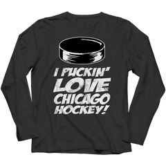 I Puckin Love Chicago Hockey Long Sleeve / Black / 3XL