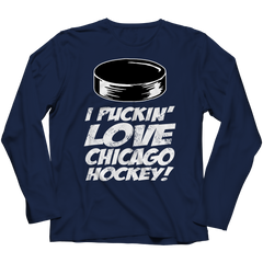 I Puckin Love Chicago Hockey Long Sleeve / Navy / 3XL