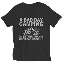 Limited Edition - A Bad Day Camping Is Better Than A Good Day Working Ladies V-Neck / Black / S