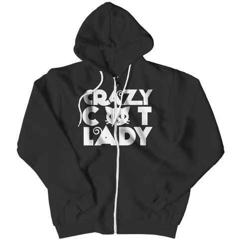 Limited Edition - Crazy Cat Lady (Red) Zipper Hoodie / Black / L