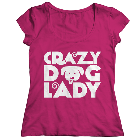 Limited Edition - Crazy Dog Lady Ladies Classic Shirt / Pink / S