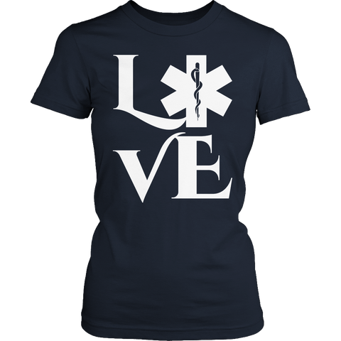 Limited Edition - EMS Love- large design Ladies Classic Shirt / Navy / S