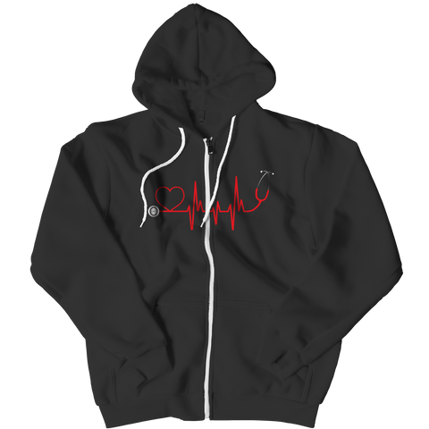 Limited Edition - EMS Nurse Doctor Love Pulse Zipper Hoodie / Black / L